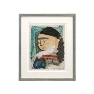 "Mid-Century Abstract ""Woman With Cat"" Watercolor Painting by Raymond Debieve For Sale"