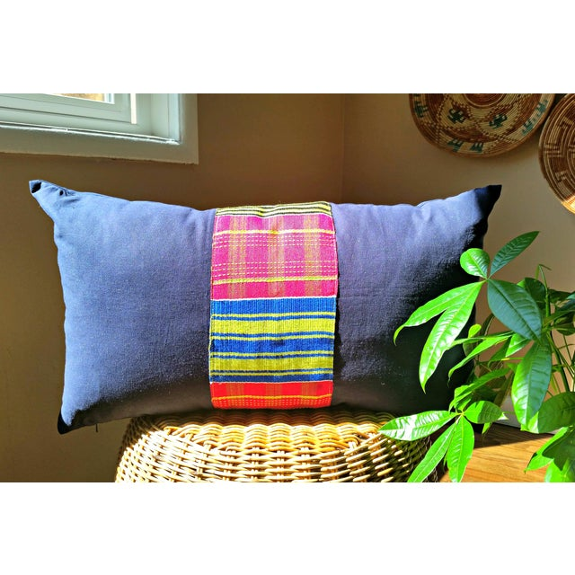 African Vintage African Kente Cloth Lumbar Pillow Cover For Sale - Image 3 of 4