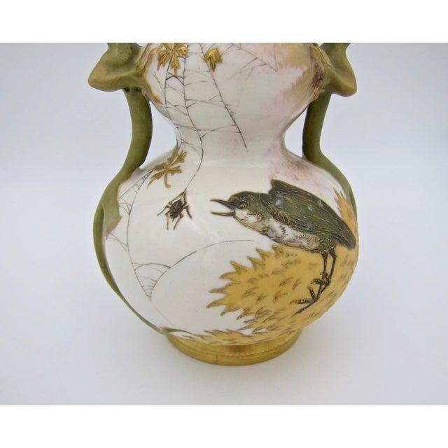 Art Nouveau Late 19th Century Austrian Art Nouveau Amphora RStK Ivory Porcelain Vase With Dragon Handles For Sale - Image 3 of 13