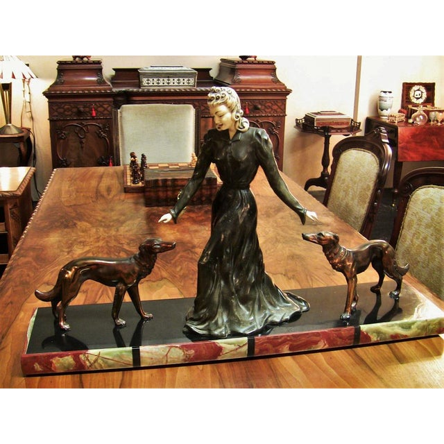 Black Large Art Deco Sculpture of Bronze Lady With Dogs on Marble Base - Impressive and Important For Sale - Image 8 of 11
