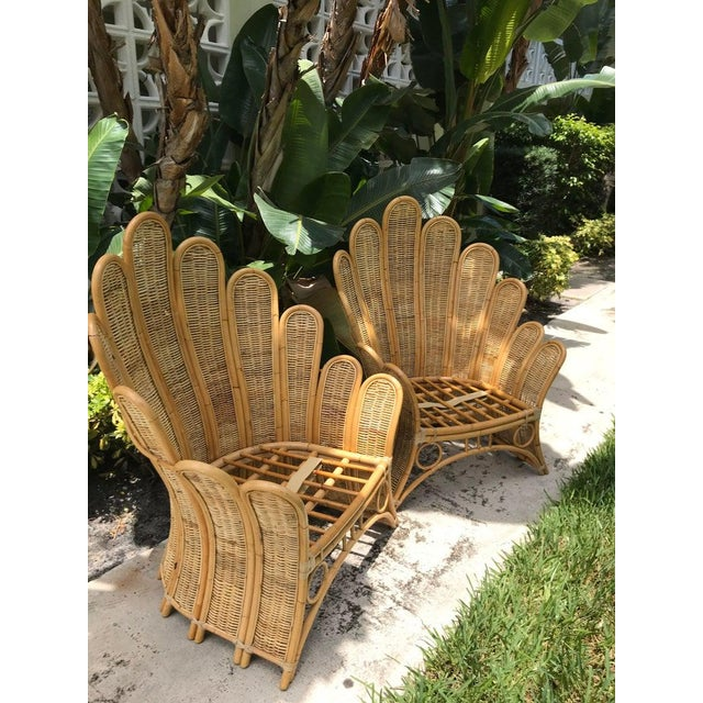 Vintage Rattan Palm Frond Chairs With Unused Monkey Embroidered Upholstery ( White Reflections on Fabric Is Camera) Green at Feet Is Grass - a Pair For Sale In Miami - Image 6 of 7