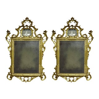Early 19th Century Venetian Gilt Mirrors with Etched Figural Design - a Pair