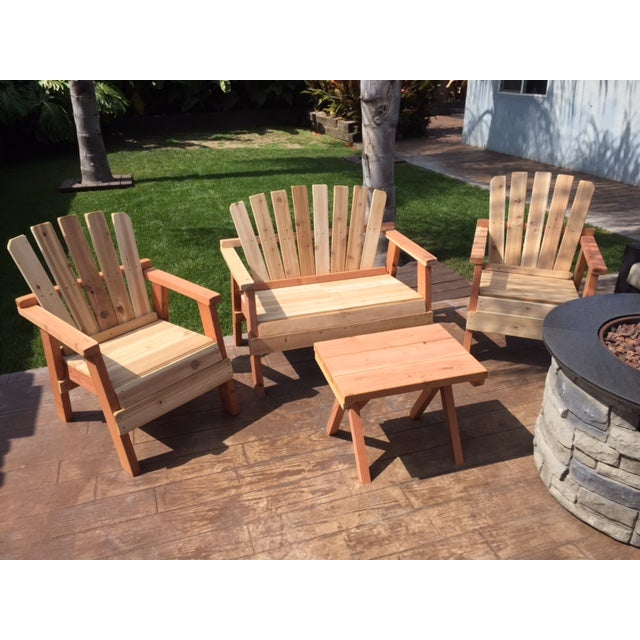 Natural Redwood Patio Set - Set of 4 - Image 8 of 11