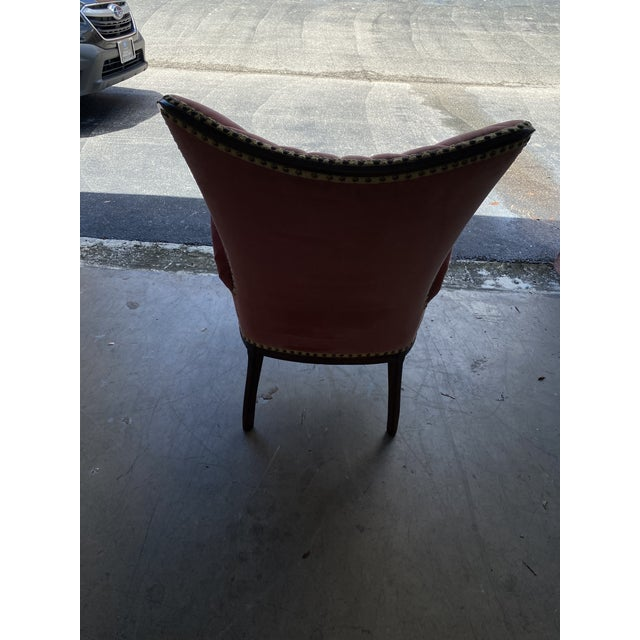 Vintage Pink Velvet High Back Chair For Sale In Miami - Image 6 of 10