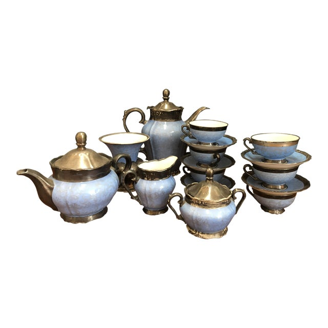 Victorian Kerman Blue & Silver Tea and Coffee - Set of 18 For Sale