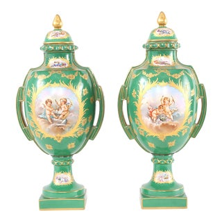 Early 20th Century Gilt Porcelain Dresden Covered Urns - a Pair For Sale