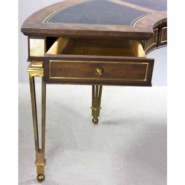 1970s Brass and Walnut Desk by Mastercraft For Sale - Image 5 of 10