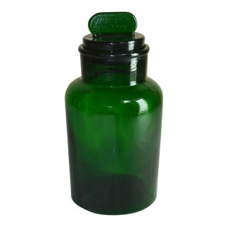 Italian Green Lidded Glass Jar/Canister For Sale