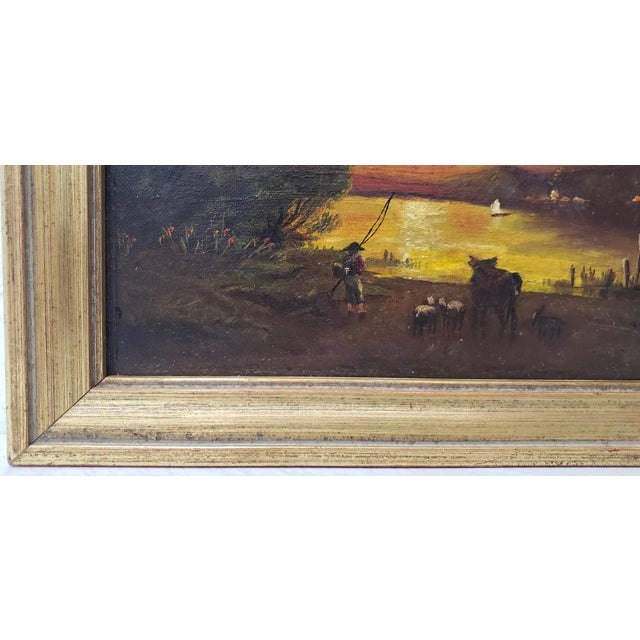 Canvas 19th Century Luminous Sunset Over Mountain Lake Oil Painting For Sale - Image 7 of 10