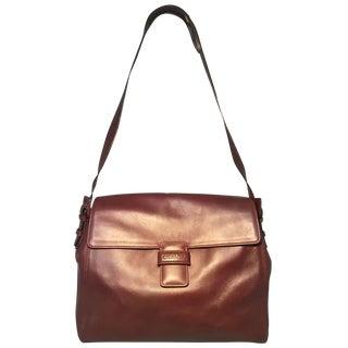 Chanel Maroon Leather Top Flap Shoulder Bag For Sale