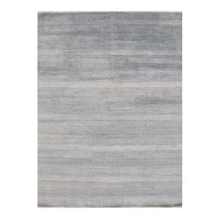"Apadana - Contemporary Gray-Blue Textured Indian Savannah Rug, 9'x12"""