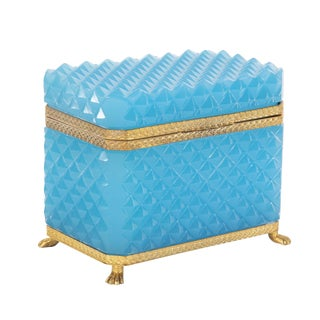 Brilliant French Turquoise Opaline Cut Glass Box For Sale