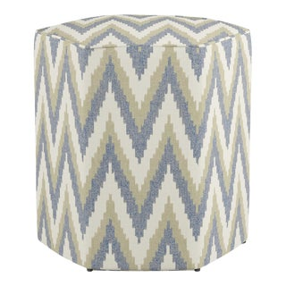 Hexagonal Ottoman in Chevron Ikat By Scalamandre For Sale