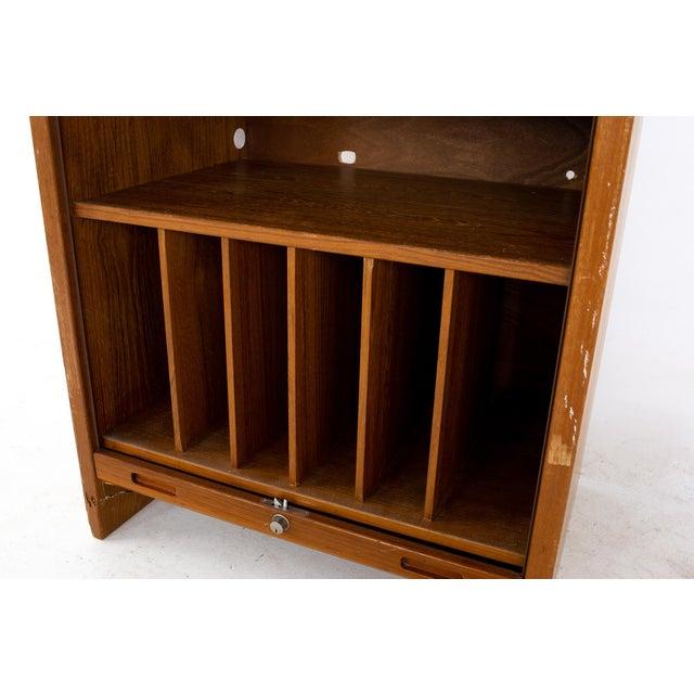 Mid Century Teak Tambour Door Upright Storage Credenza For Sale - Image 12 of 13