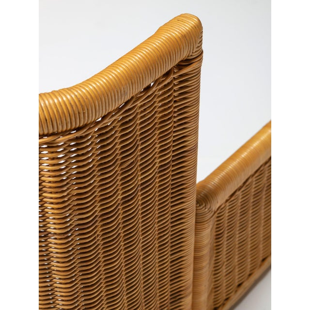 Modern Pair of Single Bed Wicker Frame by Adalberto Dal Lago for Germa For Sale - Image 3 of 7