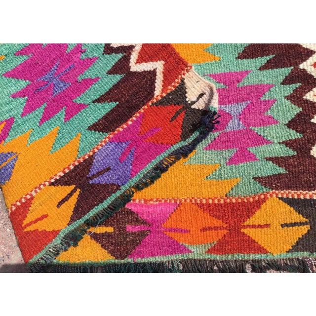 Textile Vintage Turkish Kilim Rug For Sale - Image 7 of 8