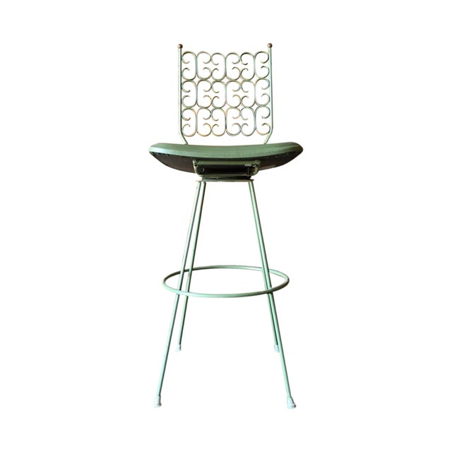 Salterini Painted Wrought Iron Sage Green Barstool For Sale