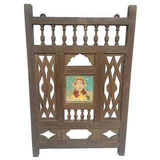 Antique Indian Wood Fragment with Ganesha Tile For Sale