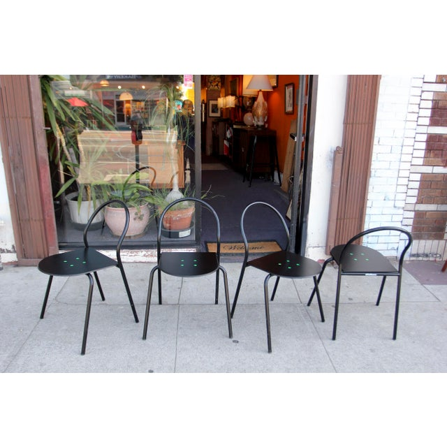 Modern 1980s Modern Black Metal Side Chairs - Set of 4 For Sale - Image 3 of 12