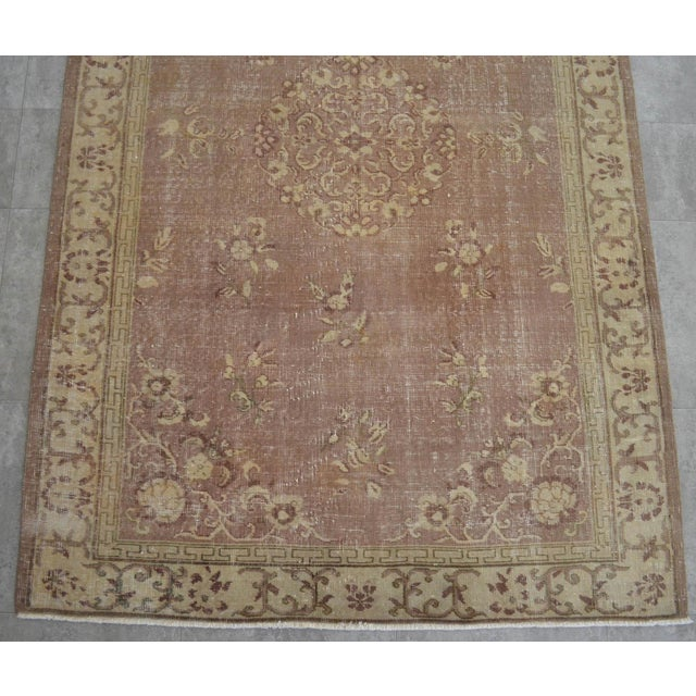 Vintage Turkish Hand Knotted Area Rug Distressed and Faded Colors - 5′1″ × 8′4″ For Sale In Raleigh - Image 6 of 9