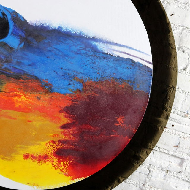 Abstract Round Acrylic Canvas Painting Mounted on Smoke Plexiglass by Ted R. Lownik For Sale - Image 12 of 13