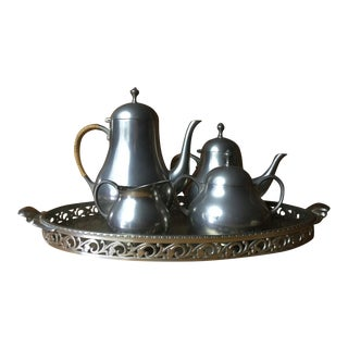 Mid-Century Royal Holland Pewter Coffee Tea Set For Sale
