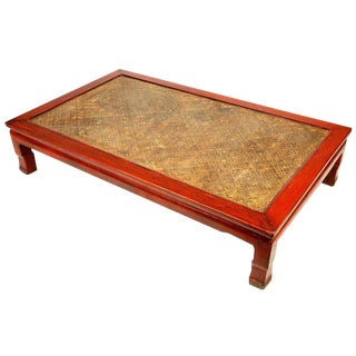 Chinese Red Lacquer Coffee Table with Woven Rice Top For Sale