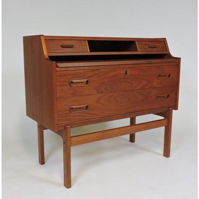 Arne Wahl Iversen Danish Modern Teak Secretary Desk Model 70 For Sale - Image 11 of 12