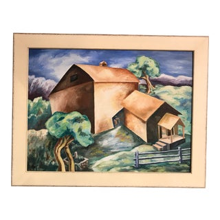 "1930s Beryl Adair Trezise ""Farm After the Cyclone"" Oil Painting For Sale"