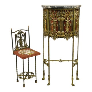 Oscar Bach Attributed Figural Bronze Marble Top Telephone Hall Stand With Chair For Sale
