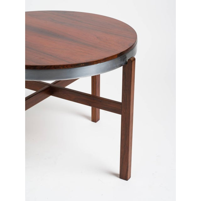 Norwegian Rosewood Side Table With Metal Trim For Sale - Image 4 of 9