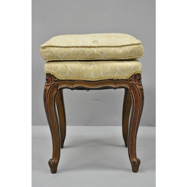 Vintage French Provincial Louis XV Style Upholstered Stool Bench For Sale - Image 9 of 10