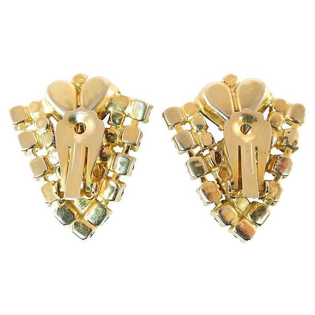 Topaz Crystal Chevron Earrings, 1950s For Sale In Los Angeles - Image 6 of 7