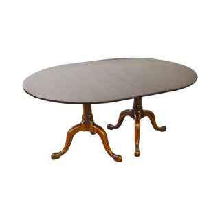 Henkel Harris Solid Mahogany Double Pedestal Oval Dining Table W/ 4 Leaves