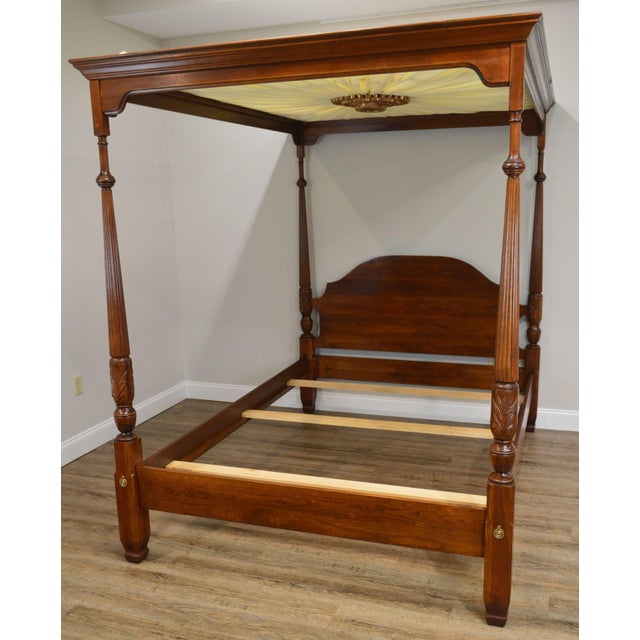 Traditional Harden Cherry Queen Size Poster Bed With Custom Canopy For Sale - Image 3 of 13