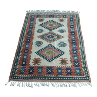 "Turkish Hand Woven Wool Rug-5'5'x7"" For Sale"