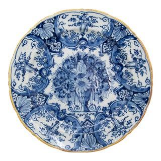 Antique 18th-Century Dutch Delft Faience Floral Charger For Sale