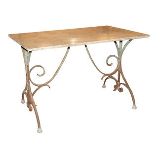 French Iron Bistro Table with Original Marble Top For Sale
