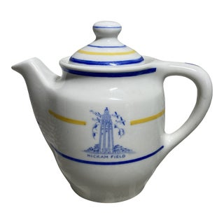 Vintage Hickam Field Air Force Mayer Co White, Blue & Yellow Ceramic Creamer For Sale