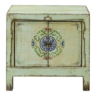 Elm Wood Mandarin Longevity Motif Cabinet For Sale