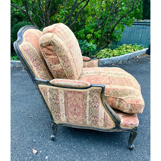 Vintage French Bergere Chair With Paisley Upholstery For Sale - Image 11 of 13