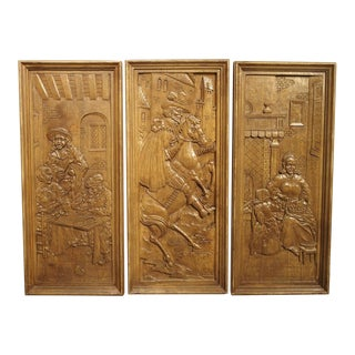 Set of Three Bas Relief Carved Belgian Panels, Circa 1930 For Sale