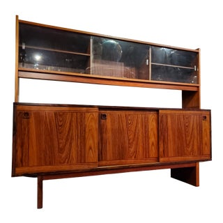 Vintage Mid-Century Modern Danish Rosewood China Cabinet For Sale
