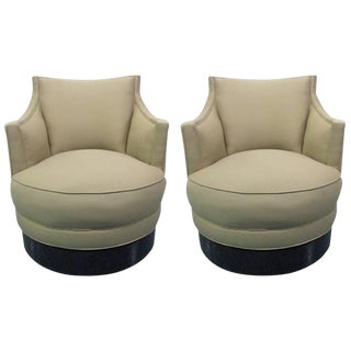 Pair Upholstered Swivel Chairs For Sale