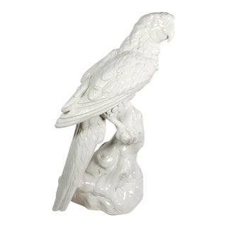 Italian Large Figurative White Glazed Terra Cotta Sculpture of Parrot For Sale