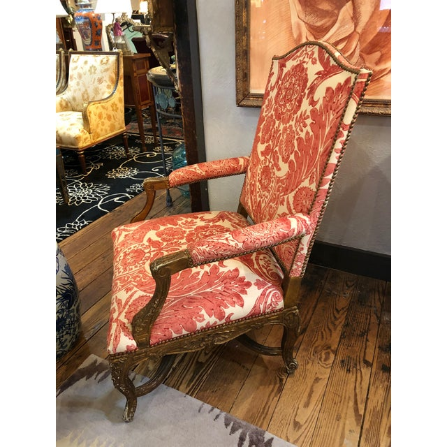 1950s Vintage Carved Giltwood Fauteuil Arm Chair For Sale - Image 10 of 13