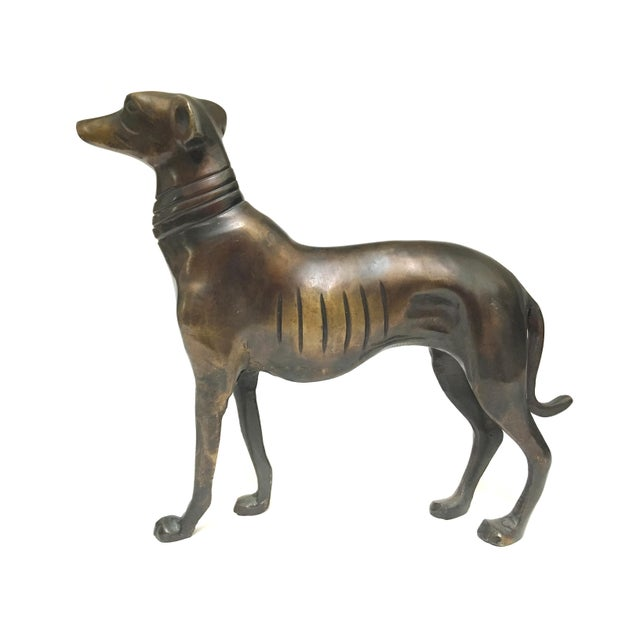 Vintage Mid Century Heavy Bronze Greyhound Dog Figurines- A Pair For Sale - Image 4 of 12