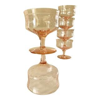 Blush Pink Etched Set of Six Vintage Champagne Cocktail Glasses For Sale