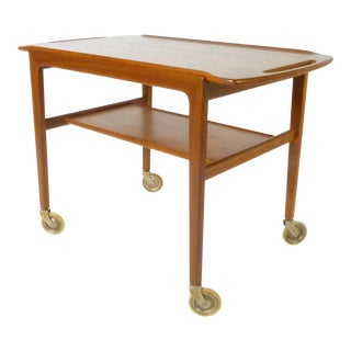 Danish Teak Bar Cart With Removable Tray For Sale