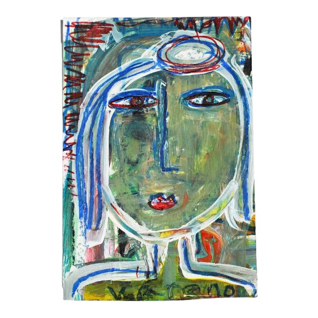 Contemporary Green Abstract Outsider Figural Painting of a Woman For Sale